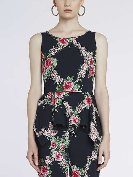 Rose-print sleeveless top - Black