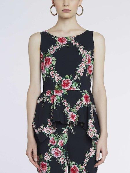 Top sin mangas con estampado de rosas