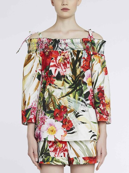 Bare-shouldered blouse with tropical-flower print