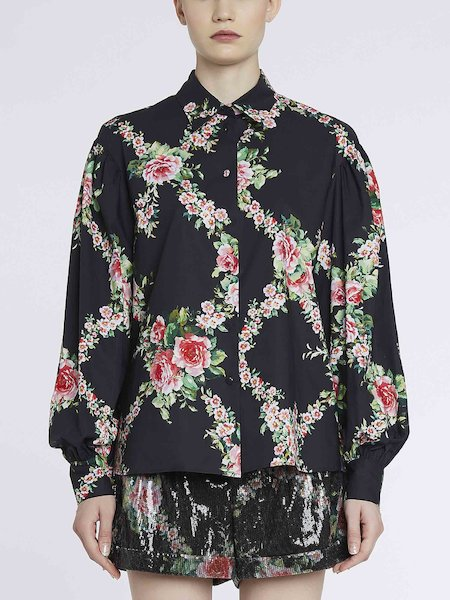Rose-print shirt in cotton - Black