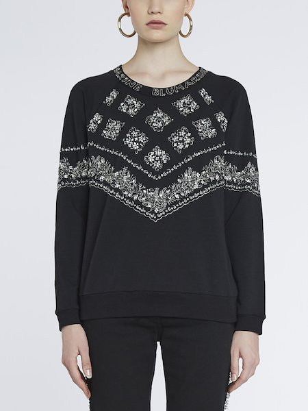 Cotton sweatshirt with embroidery - Black