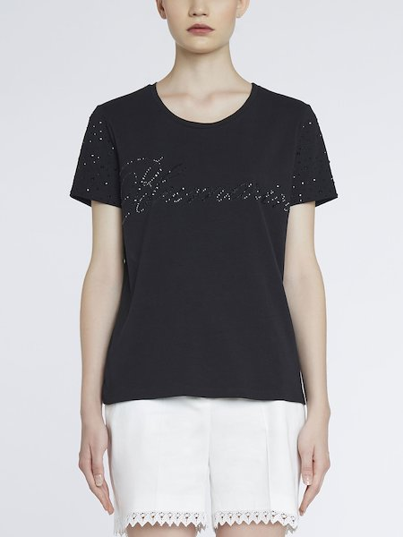 T-shirt in Jersey Con Strass - Nero