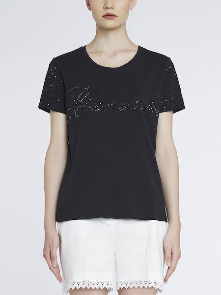 Camiseta de punto con cristalitos