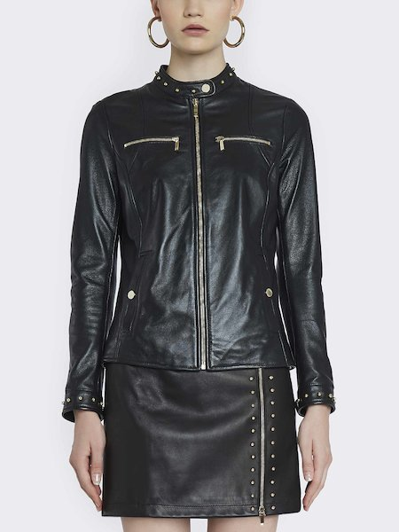 Leather jacket with studs - Black