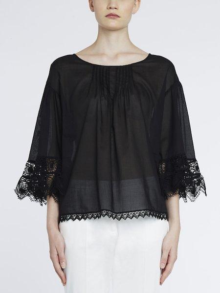 Блуза из хлопка с кружевом