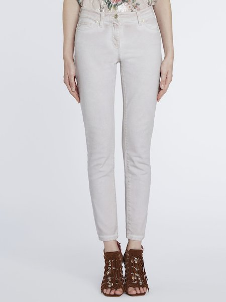 Skinny Jeans in Wash-Out-Optik. - rosa