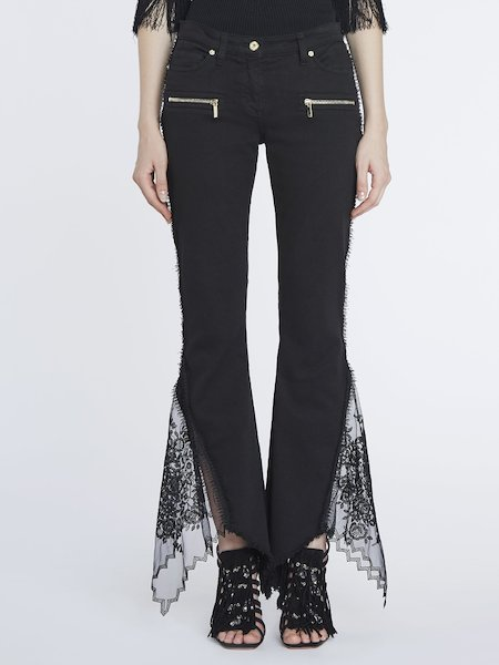 Jeans with lace and tulle - Black