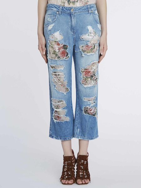 Jeans Destroyed Con Paillettes - Blu