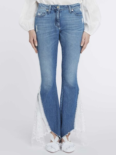 Jeans Con Pizzo e Tulle