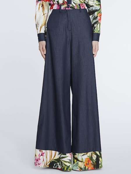 Palazzo trousers with tropical print