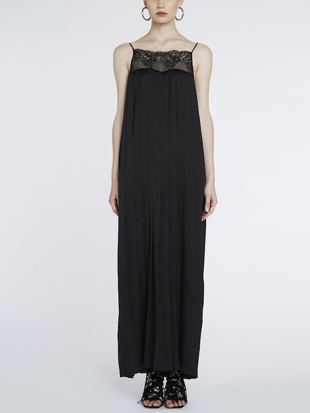 Длинное платье-комбинезон с кружевом