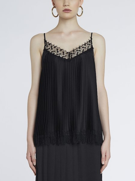 Top in pleated satin with lace - Black