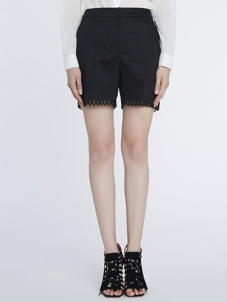 Shorts in cotton with lace - Black