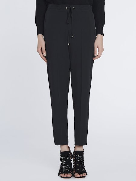 Trousers with drawstring - Black