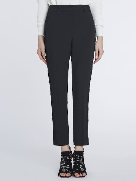Cigarette-leg trousers with bands of lace - Black