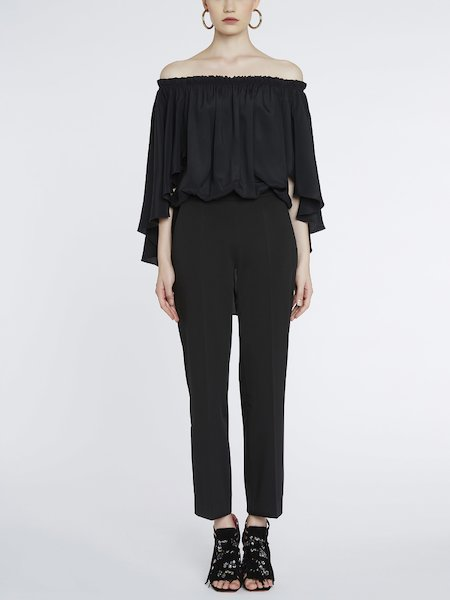 Bare-shouldered jumpsuit with flounce - Black