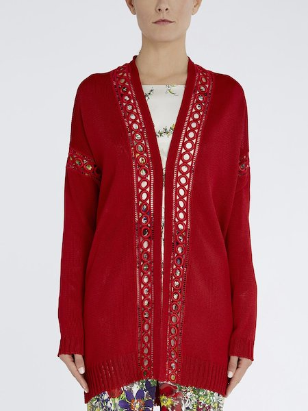 Cardigan with fancy trim embroidery - red
