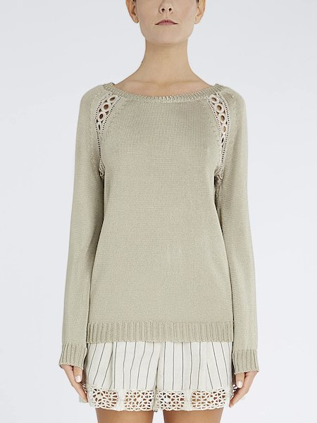 Sweater with fancy trim embroidery - beige