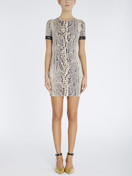Snakeskin-print dress - beige