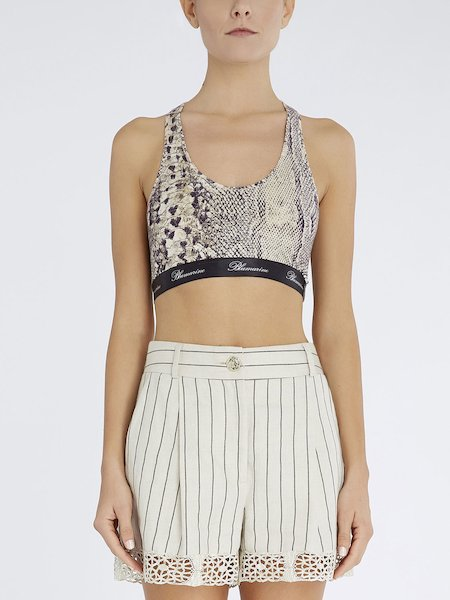 Short snakeskin-print top
