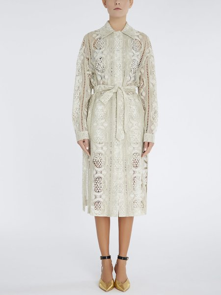 Overcoat in lace - beige