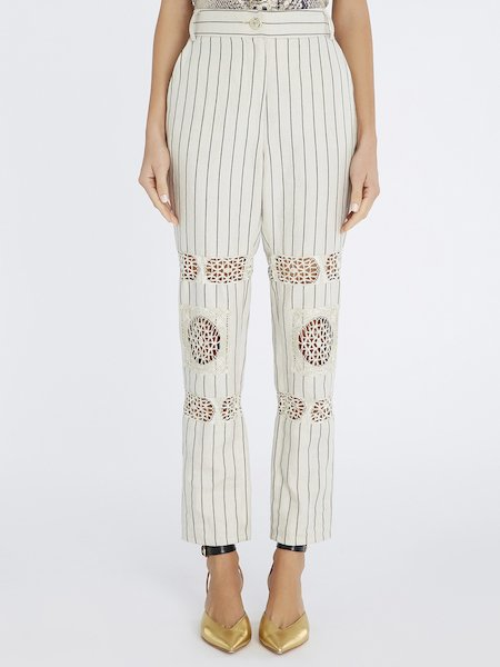 Pinstriped trousers with lace insets - beige