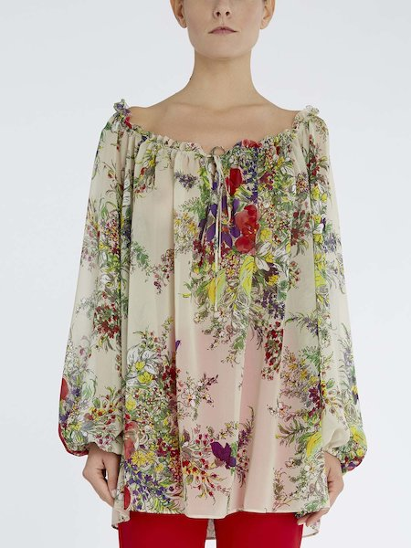 Blouse in floral-print silk