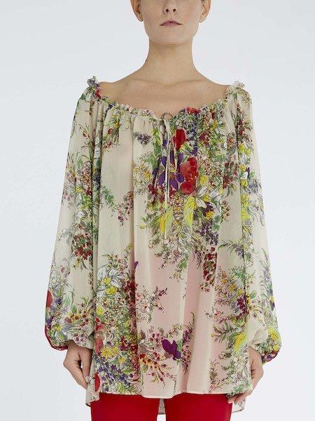 Блуза из шелка с цветочным принтом