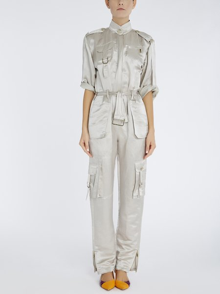 Jumpsuit in linen and silk - beige