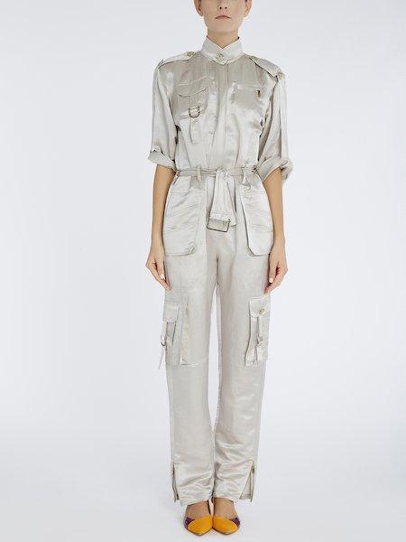 Jumpsuit in linen and silk - beige