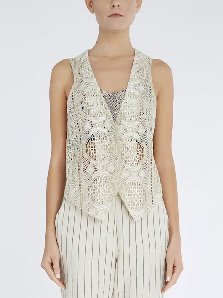 Waistcoat in lace with buttons