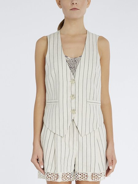 Pinstriped waistcoat in linen and cotton - beige