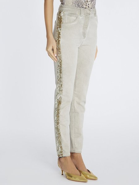Faded jeans with embroidered band - beige