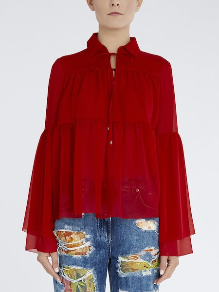 Blouse in flounced voile - red