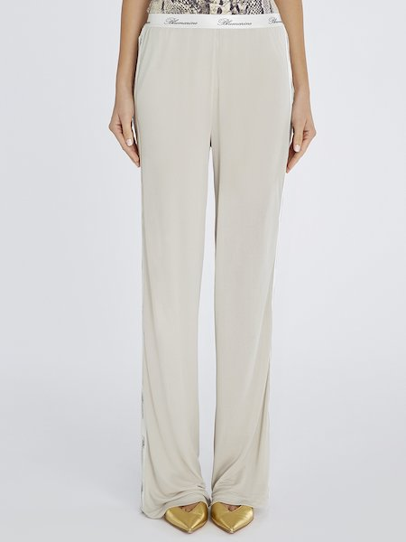 Trousers with bands featuring logo - beige