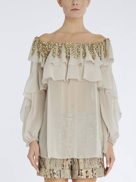 Blouse with flounces and embroidery - beige