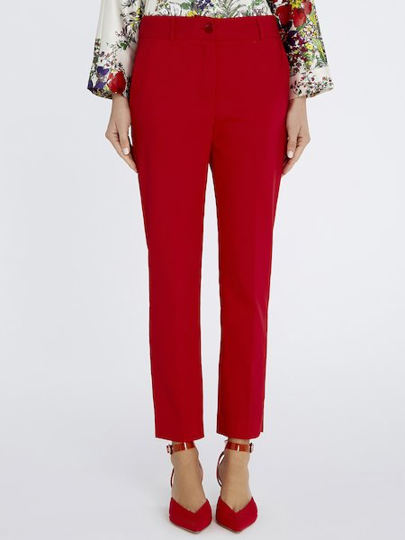 Cigarette-leg trousers - red