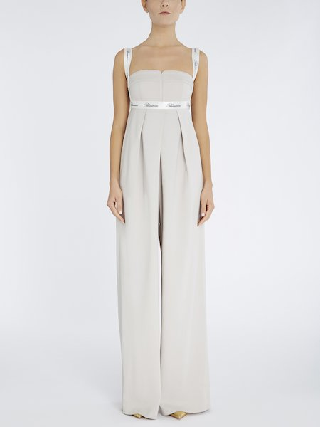 Jumpsuit with ribbon featuring logo - beige