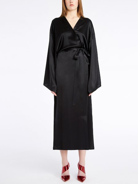 Kimono en Satén de Seda - Negro