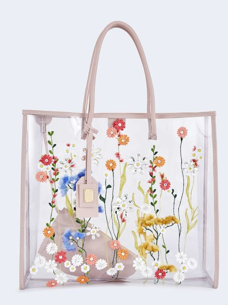 Shopping bag in PVC with flowers - pink