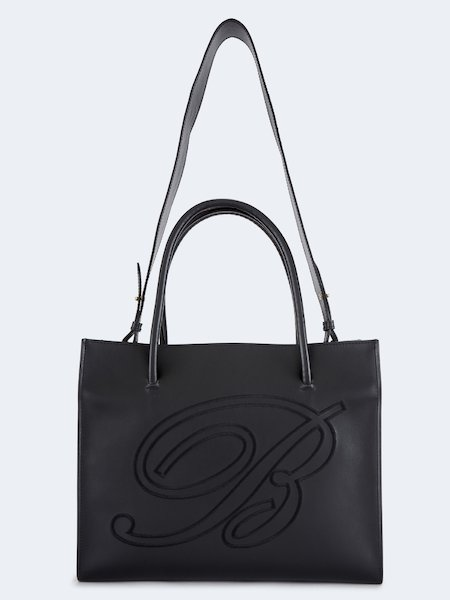 Shopper bag in leather with double handle - Black
