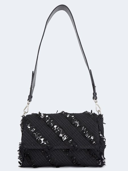 Handbag in woven leather with rhinestones