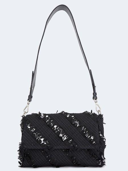 Плетеная сумка из кожи со стразами
