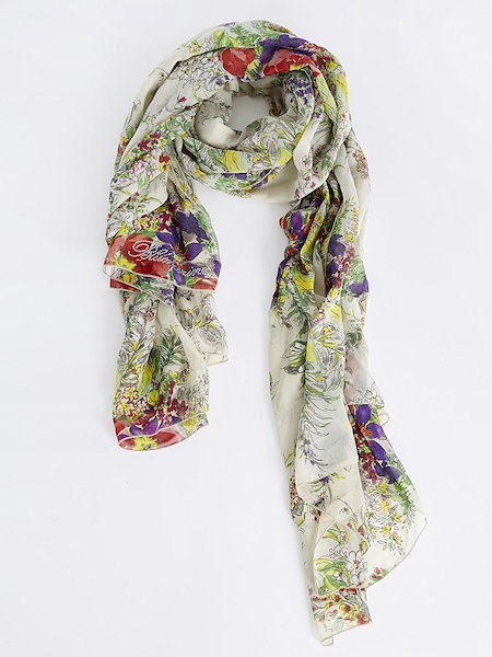 Floral-print foulard with rhinestone logo - Multicolored