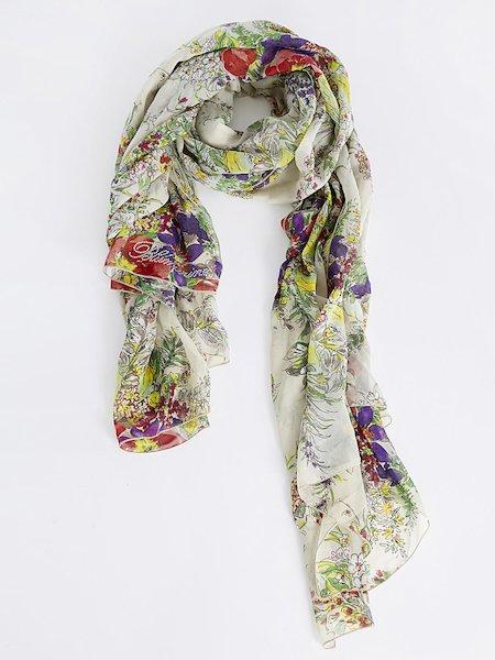 Floral-print foulard with rhinestone logo