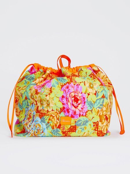 Handbag in floral-print fabric