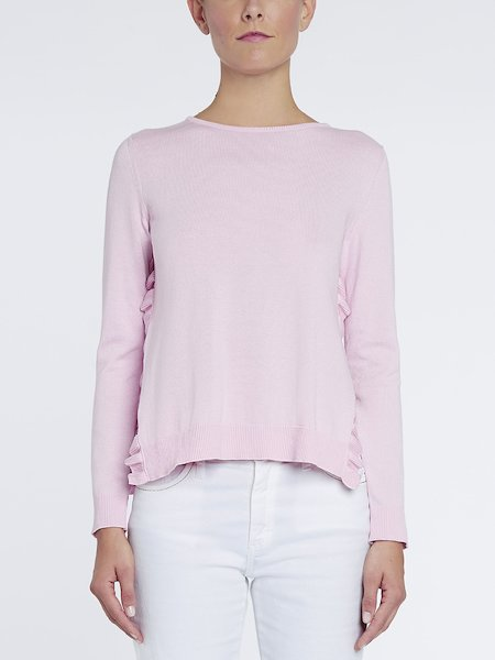 Sweater with slits and ruffles - pink