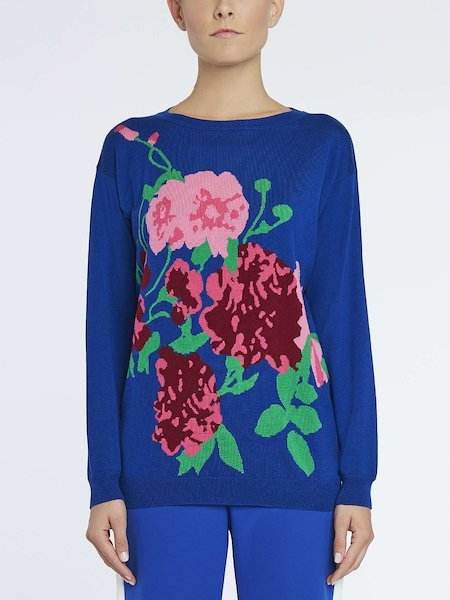 Wool sweater with maxi roses - blue