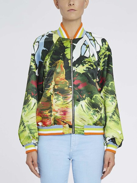Bomber with tropical print - Multicolored