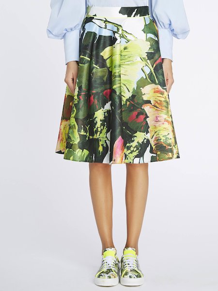Full skirt with tropical print - Multicolored